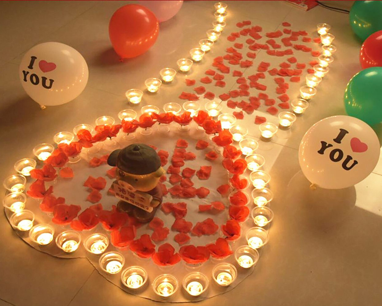 Valentine's Day Romantic Confession Decoration Pack, Tealight Candles & Floating Silk Rose and Petals for Home Decorations Wedding Birthday Party Celebrations