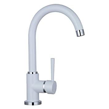 Spültischarmatur Wasserhahn Küche Spülbecken Spültisch Armatur Weiss Lack  beschichtet Küchenarmaturen Waschtischarmatur Waschbecken Küche