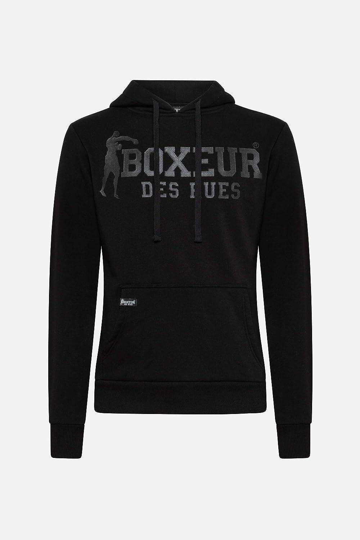 Uomo BOXEUR DES RUES Felpa Nera con Cappuccio E Maxi Logo