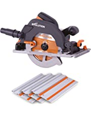 Evolution Power Tools R185CCSX 027-0001 Multi-Material Circular Saw and Track (Combination Pack), 1600 W, 230 V - Domestic