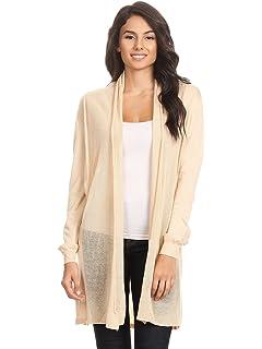 d433d4f24692 Anna-Kaci Womens Long Sleeve Open Front Drape Mesh Duster Knit Cardigan  Sweater