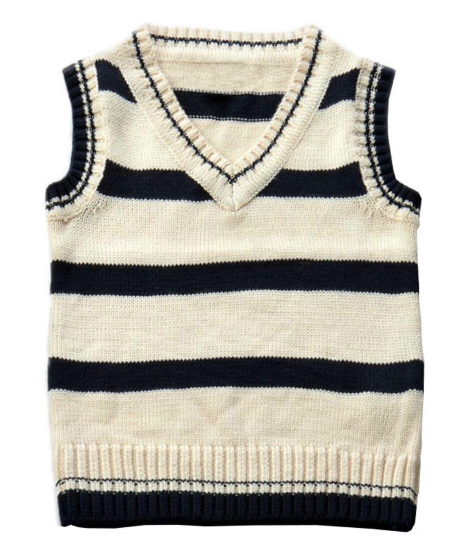 Betusline Kids Baby Boys Uniform Knitted Waistcoat Striped Sweater Vest Pullover