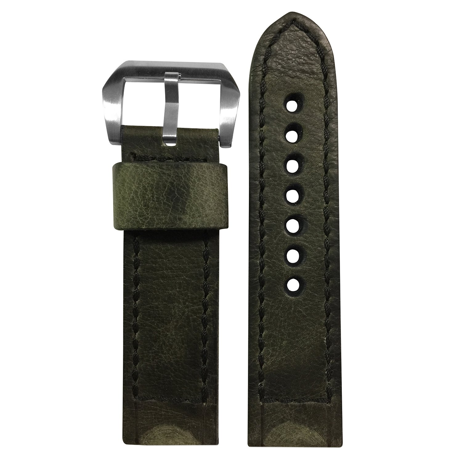 rios1931 Vintage Leather Watch Band withボックスステッチfor Panerai Watches 22x22mm XL Vintage Olive/Black Stitch 22x22mm XL|Vintage Olive/Black Stitch Vintage Olive/Black Stitch 22x22mm XL B074CM5K5D