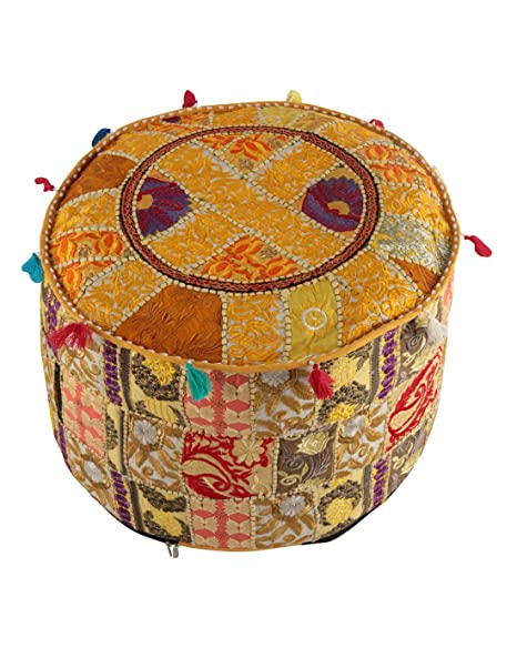 Indian Ottoman Pouf Cover Yellow Decorative Living Room Foot Stool Bohemian  Chair Covers Handmade Cotton Traditional