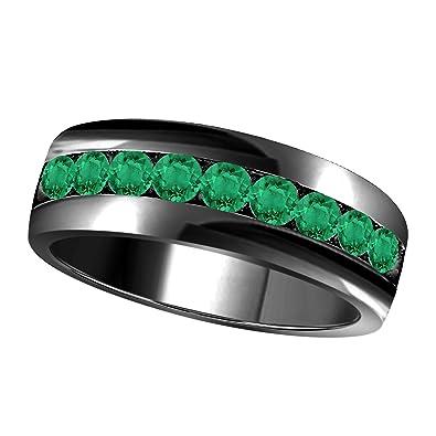 Juego de anillos de boda de 6 mm con forma redonda de 1,00 quilates, corte brillante de laboratorio, color verde, esmeralda de una sola fila: Amazon.es: ...