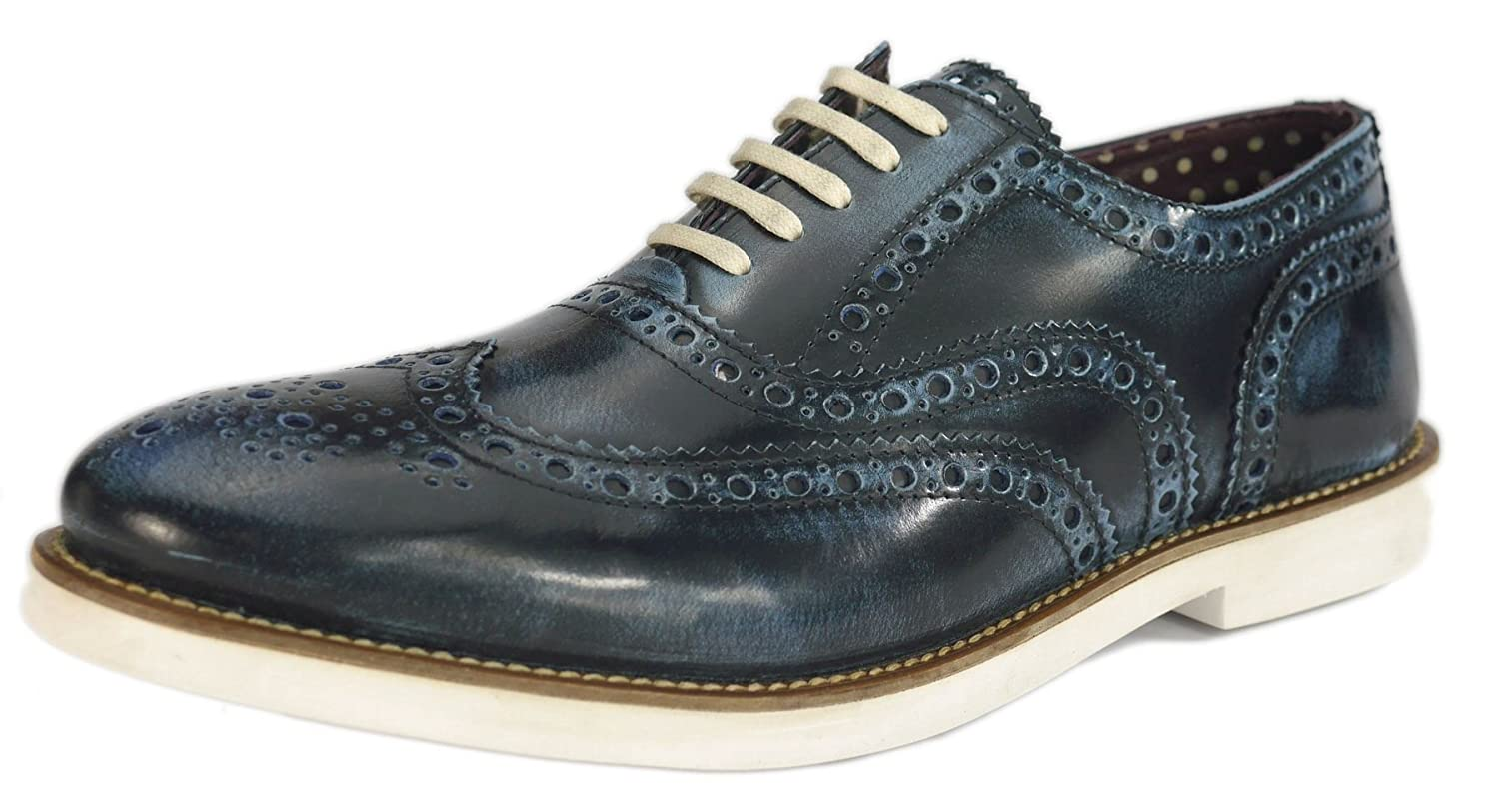 London Brogues Farnham Navy/White Mens Leather Brogue Shoes, Size 11