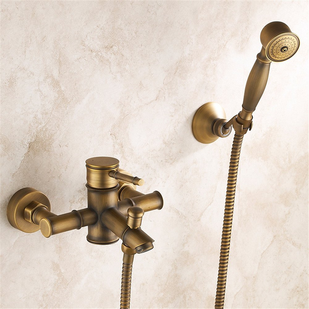 B MIWANG Antique Copper Simple Shower Set, European and american Retro Bathtub Faucet Water Mixing Valve,A