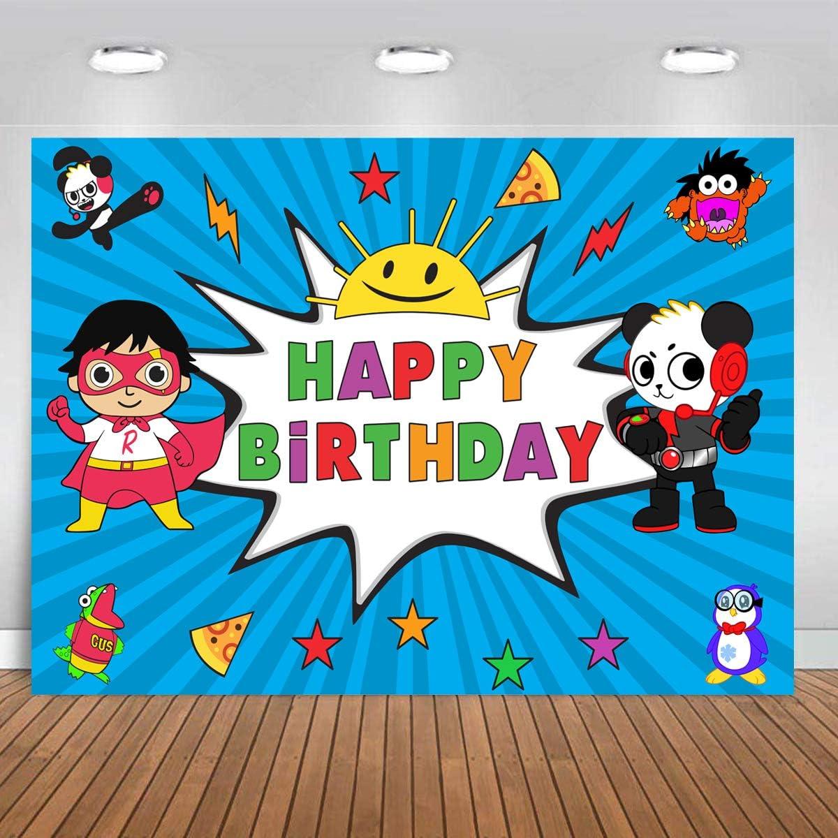 Ryan/'s World Black Wall Kids Birthday Party Backdrop Doll Birthday Baby