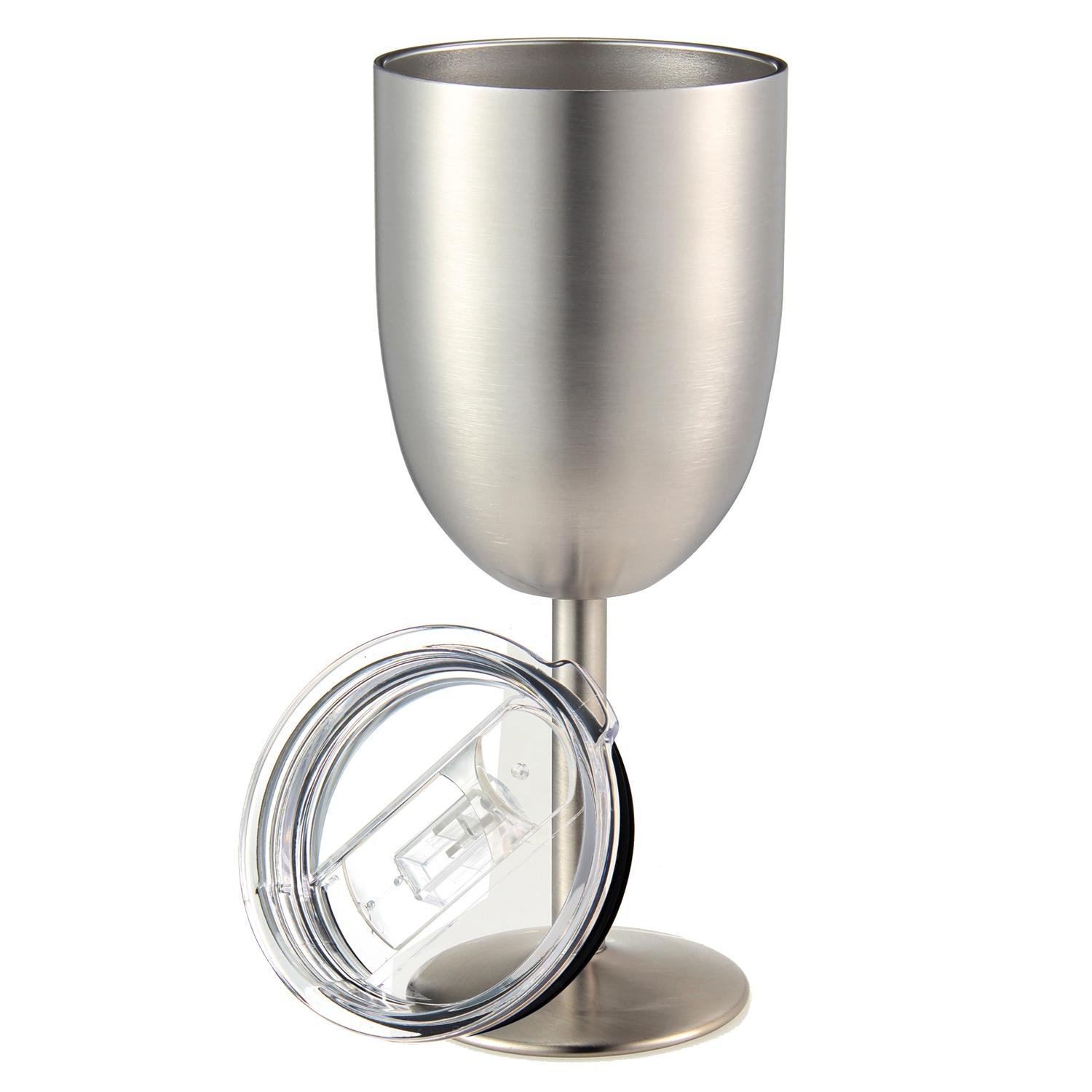 Pawaca Stainless Steel Wine Glasses, 10oz Double Wall Vacuum Sealed Stainless Steel Wine Goblet with Leak Resistant Lid for Daily, Camping and Picnic