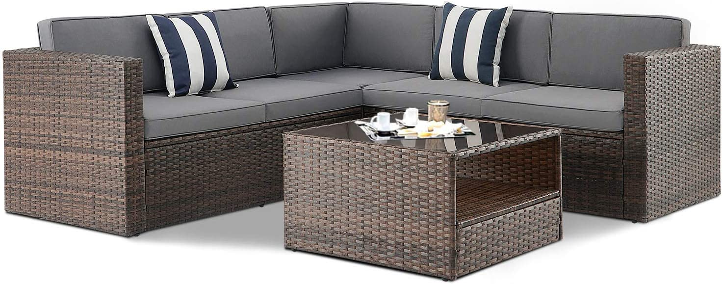 SUNCROWN Outdoor 4-Piece Patio Furniture Sectional Sofa Set All Weather Brown Wicker with Washable Seat Cushions and Modern Glass Coffee Table, Grey
