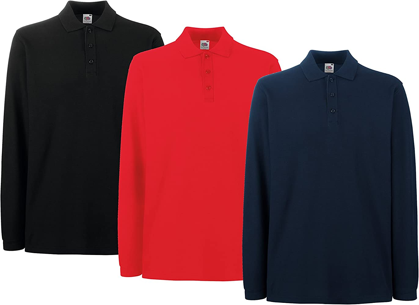 Fruit of the Loom Pack Di 3 Pz Polo Premium Manica Lunga-Polo ...