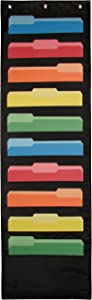 Hanging Paper Organizer & Wall File Holder - Premium Double Stitched Classroom Pocket Chart for Home Cubicle Dorm or School Organization; Flat & Vertical Cascading Black 10 Pockets   Newton Y Apple