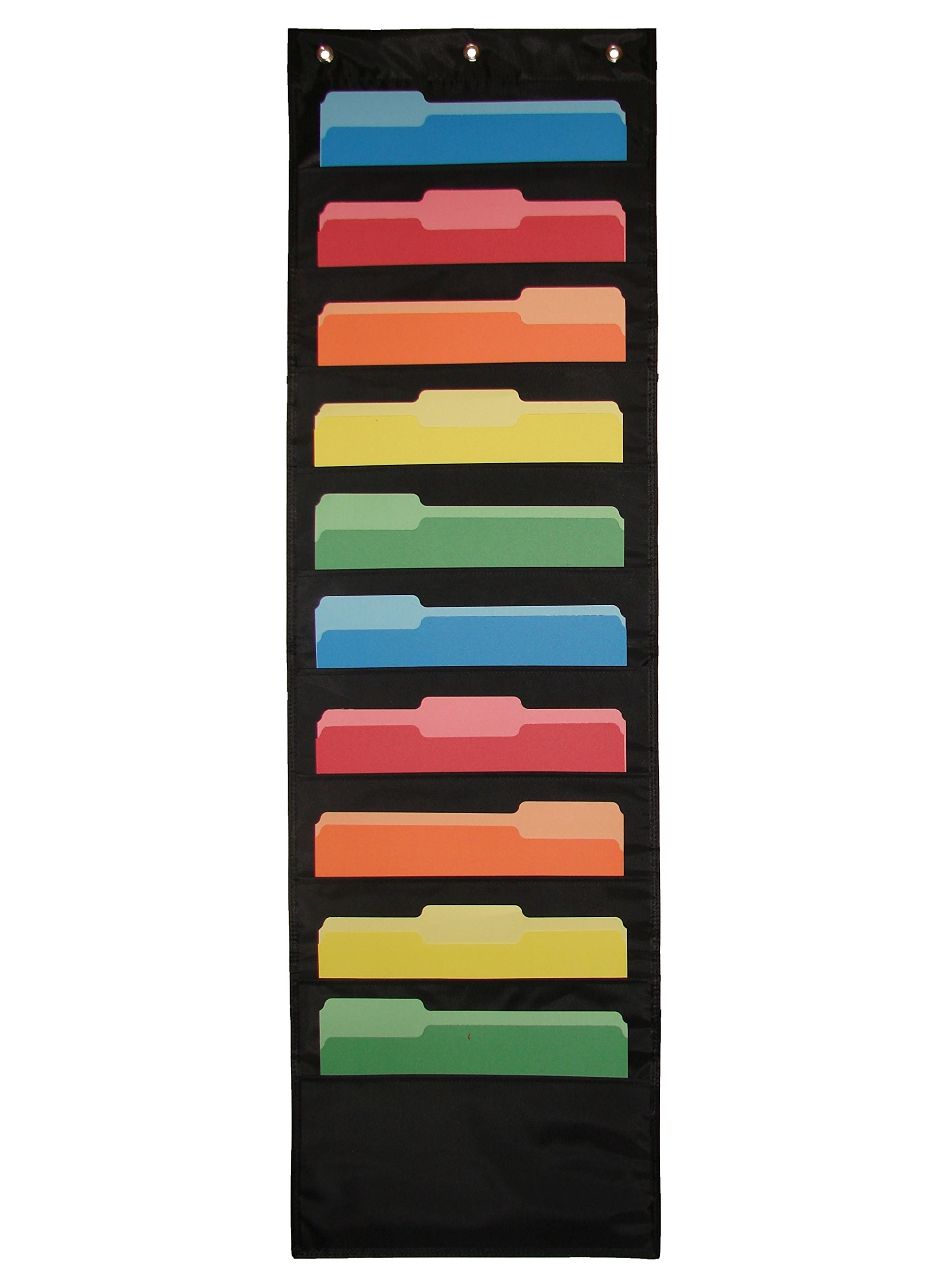 Hanging Paper Organizer & Wall File Holder - Premium Double Stitched Classroom Pocket Chart for Cubicle Office School Organization – Flat & Vertical Cascading Black 10 Pockets | Newton Y Apple by Newton Y Apple (Image #8)