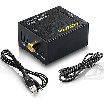 MUSOU Convetidor de Digital a Analógico Conversor de DAC Toslink Coaxial Óptico a RCA L/