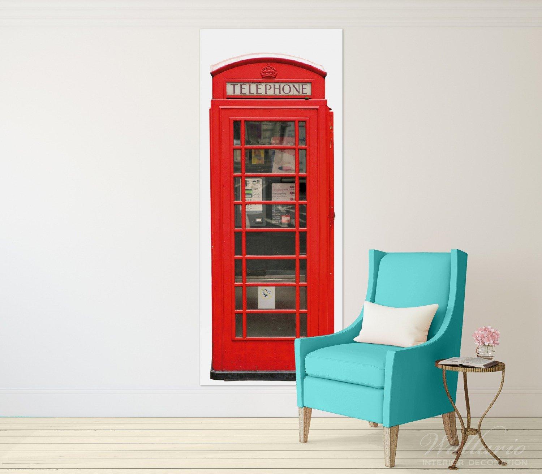 Wallario Wandgarderobe aus Glas in Größe 50 x 125 125 125 cm in Premium-Qualität, Motiv  London Rote Telefonzelle   7 Kleiderhaken zum Aufhängen von Jacken 84694a