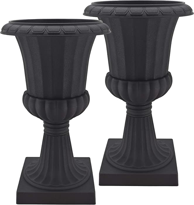 Arcadia Garden Products PL51BK-2 Deluxe Plastic Urn(Pack of 2), Black, 16