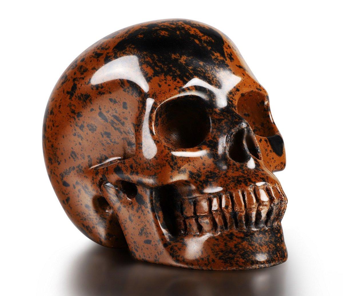 Skullis 2.0-3.0 Mahogany Obsidian Crystal Skull. Hand Carved Gemstone Fine Art Sculpture, Reiki Healing Stone Statue.