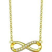 F.ZENI Kette Damen 925 Sterling Silber Funkeln Kubisches Zirkonia Kuss Halskette Akzent Unendlichkeit für Immer Ketten für Damen