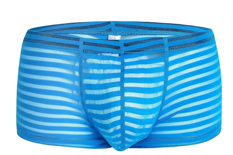 3 UNIDS Hombres Ver A Través de Calzoncillos Calzoncillos de Transparentes Boxer Low Rise Sexy Shorts Ropa Interior Bikini Hielo Seda Bulge Swimrwear Calzoncillos,Blue,XL f28c37