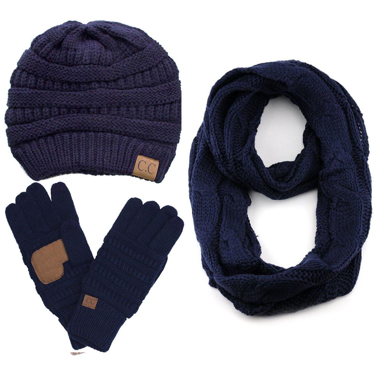 ScarvesMe CC 3pc Set Trendy Warm Chunky Soft Stretch Cable Knit Beanie Scarves Gloves Set (Navy)