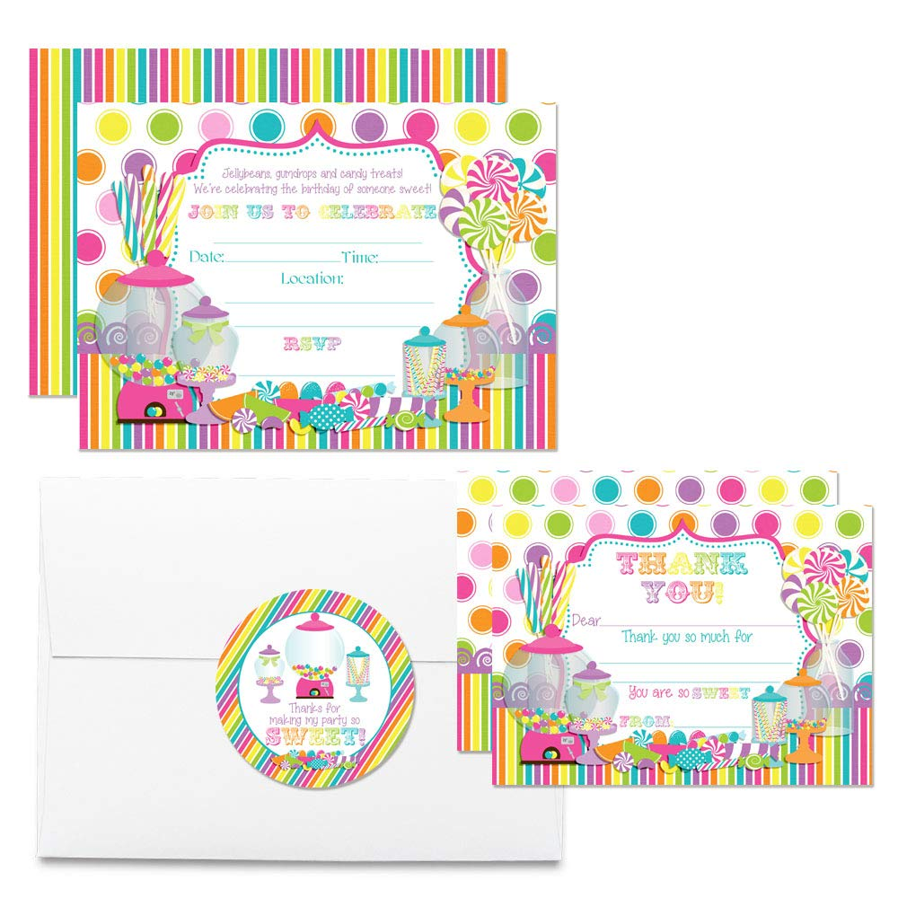 Deluxe Sweet Shoppe Candy Shop Birthday Party Bundle, Includes 20 Each of 5''x7'' Fill-in Invitation Cards, Thank You Cards, Thank You Party Favor Stickers and Envelopes