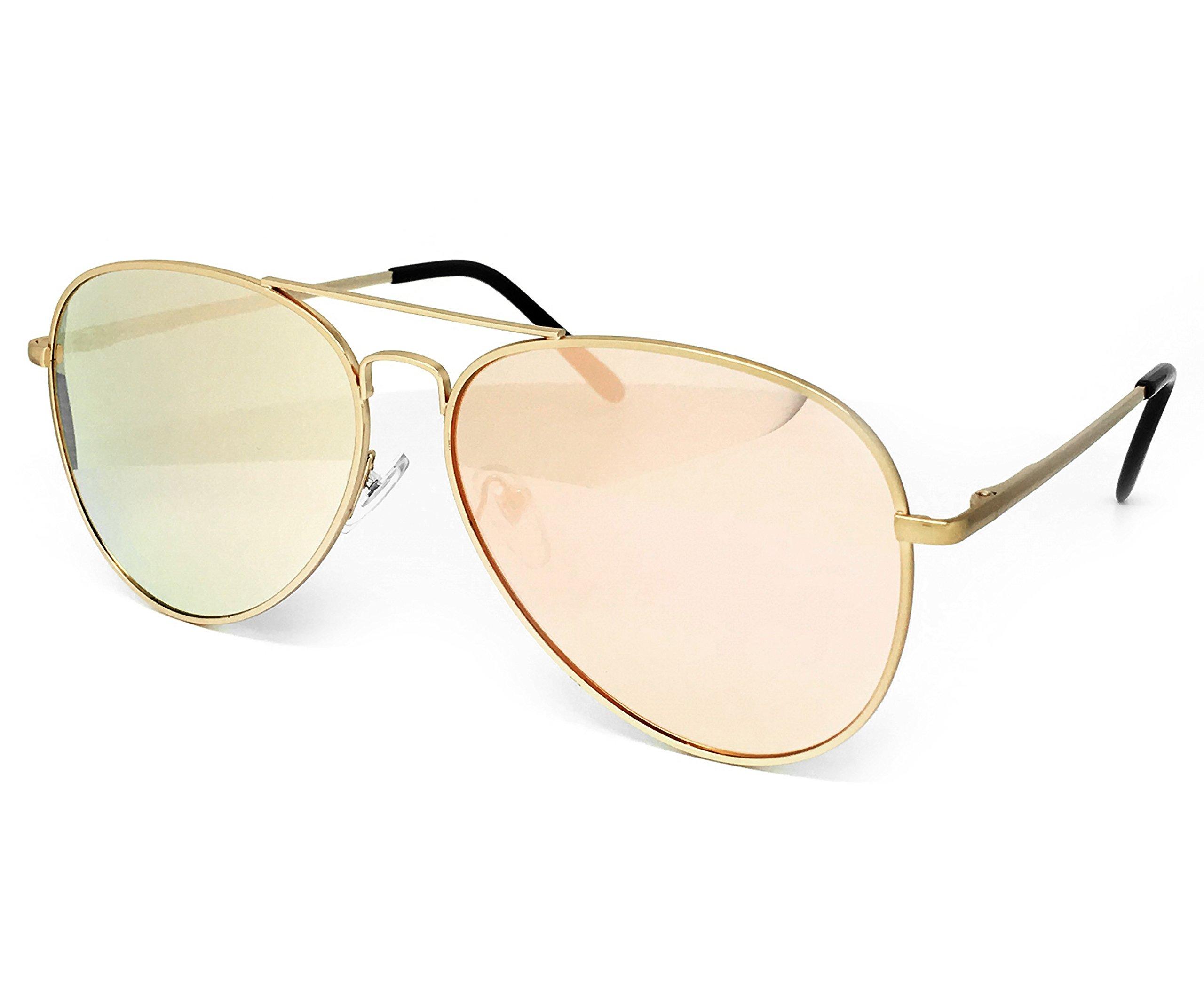 fe2132fe04 O2 Eyewear 97025 Premium Oversized Flat Aviator Mirrored Sunglass Womens  Mens
