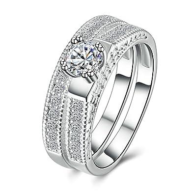 eabb6feb308c Blisfille Anillo Compromiso Plata Anillo Oro Blanco Y Diamantes Anillo de Mujer  Chapado en Plata