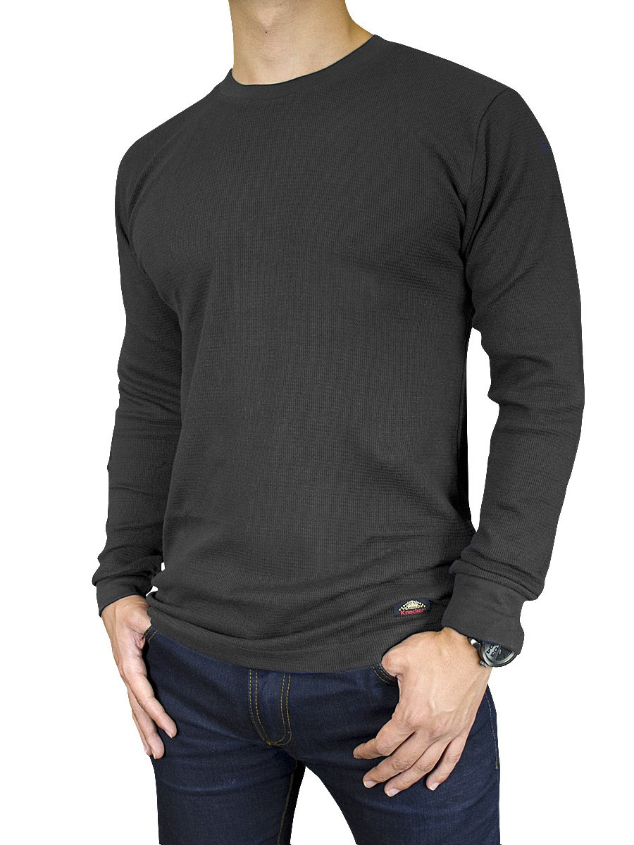 Men's Mid Weight Thermal Long-Sleeve Top Shirt (Charcoal, XXX-Large) by Knocker