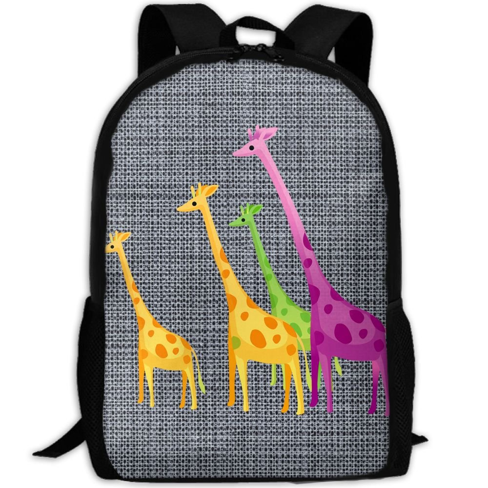 Color Giraffe Double Shoulder Backpacks For Adults Traveling Bags Full Print Fashion