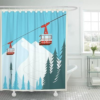 Amazon TOMPOP Shower Curtain Vintage Winter Cartoon Red Ski