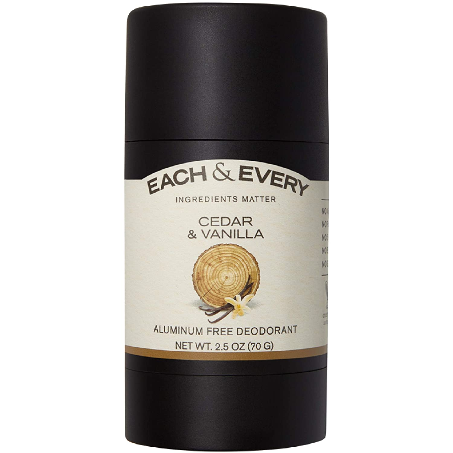 Each & Every All Natural Aluminum Free Deodorant for Men and Women, Cruelty Free Vegan Deodorant with Essential Oils, Non-Toxic, Paraben Free, Cedar & Vanilla, 2.5 Oz.