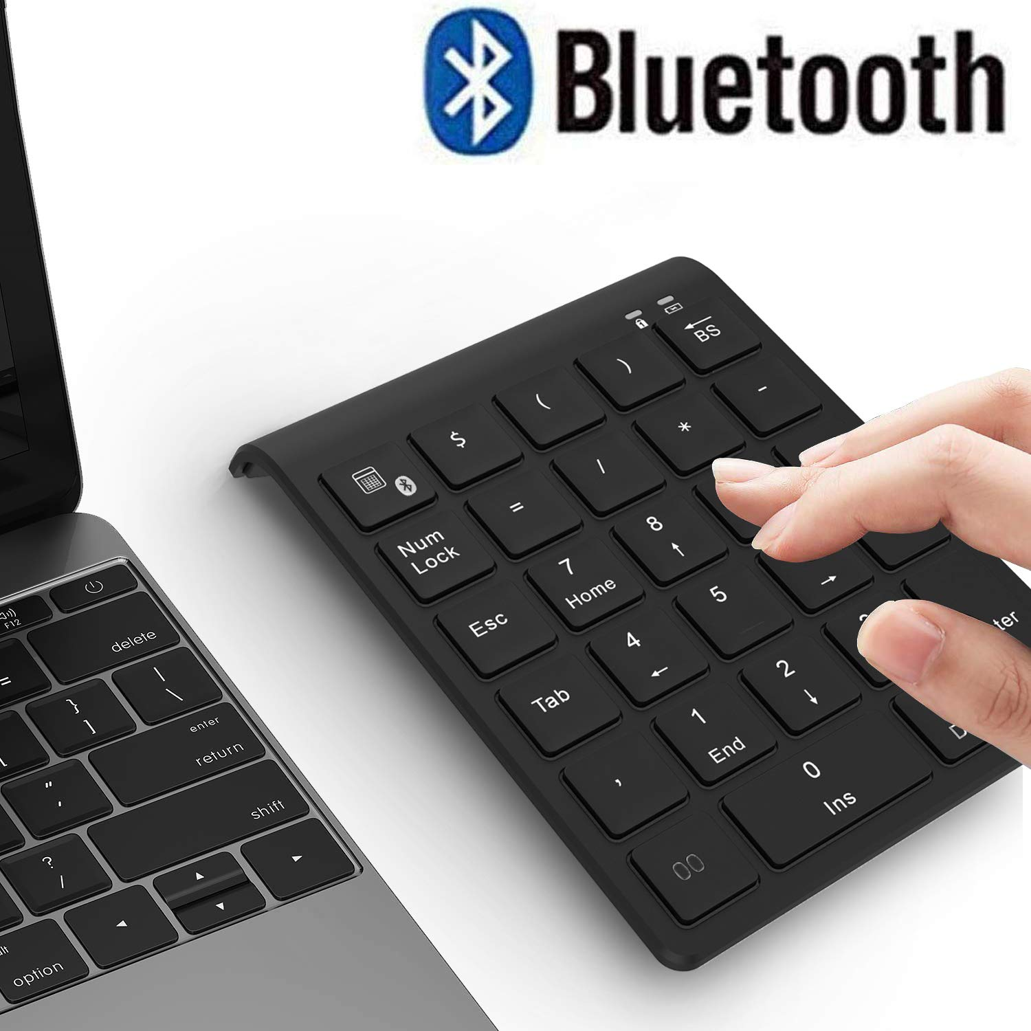 Bluetooth Number Pad, Acedada Portable 27-Key Wireless Bluetooth Numeric Keypad for Financial Accounting Excel Data Entry, Advanced 10 Key Bluetooth Keypad for Laptop, PC, Surface Pro, Notebook, etc by Acedada