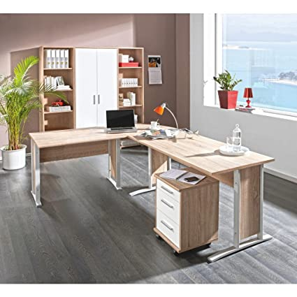Despacho completo con Mesa de escritorio en esquina, en roble ...