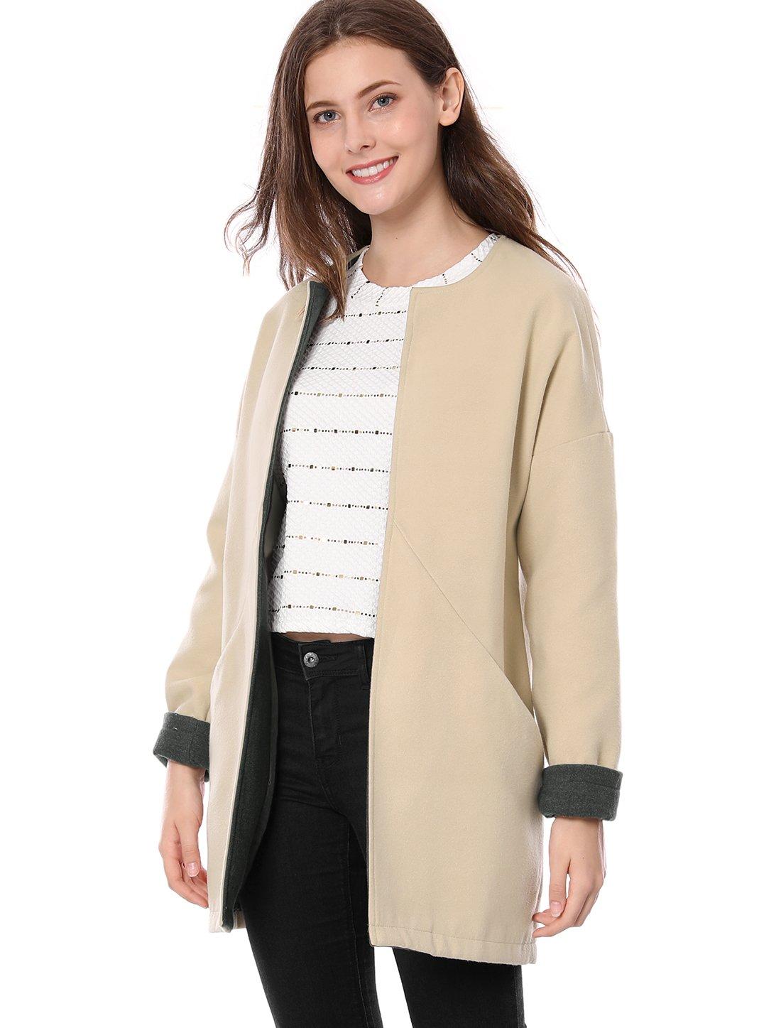 Allegra K Women's Open Front Pockets Drop Shoulder Contrast Color Coat M Beige