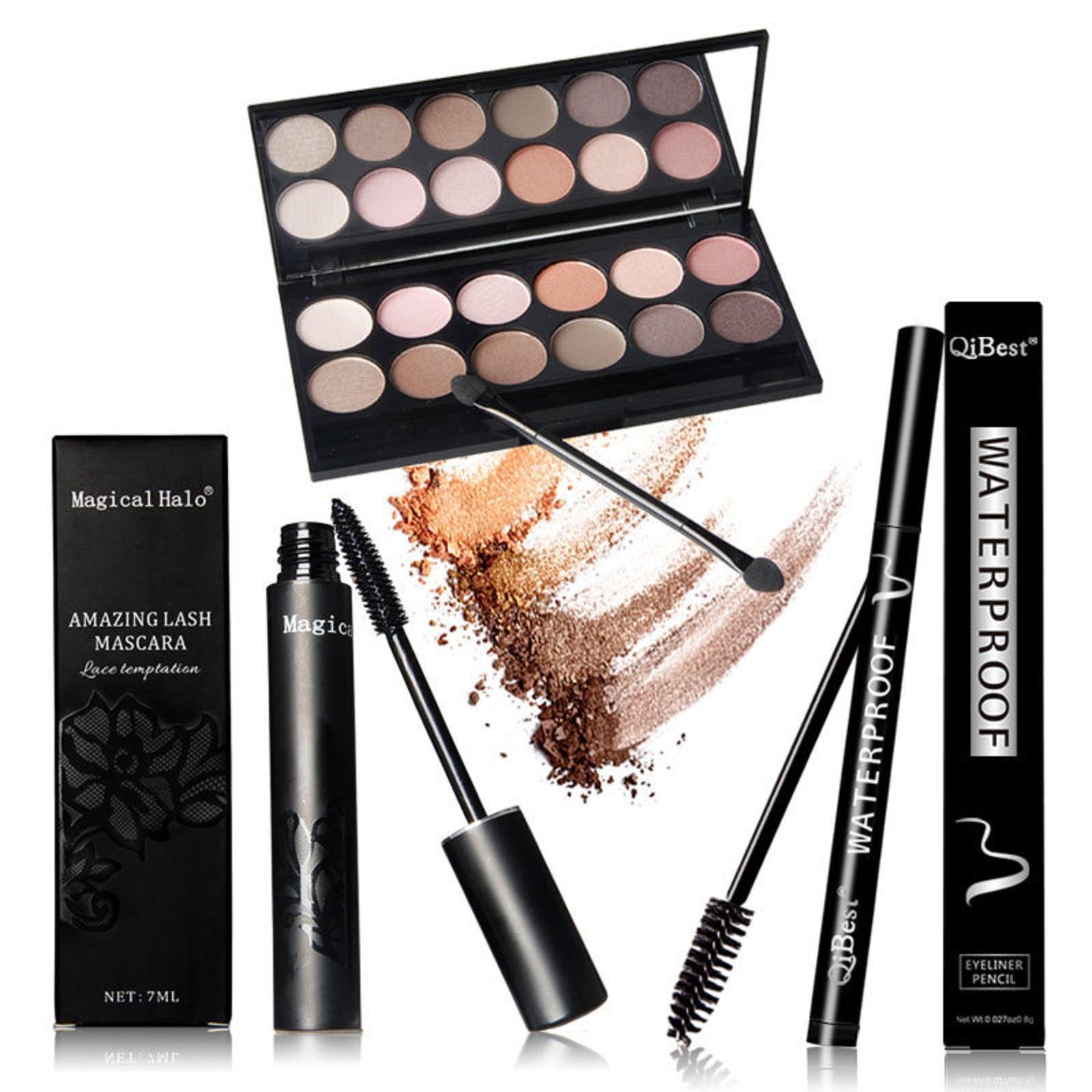 Eyes Makeup Set Mascara + Eyeliner + Eyeshadow +12PCS Eyelash Makeup Brush