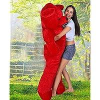 OSJS 4 Feet Huggable Teddy Bear with Neck Bow (Red)