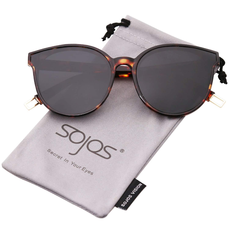 SOJOS Round Sunglasses for Women Mirrored Lens SJ2057 with Tortoise Frame/Grey Lens