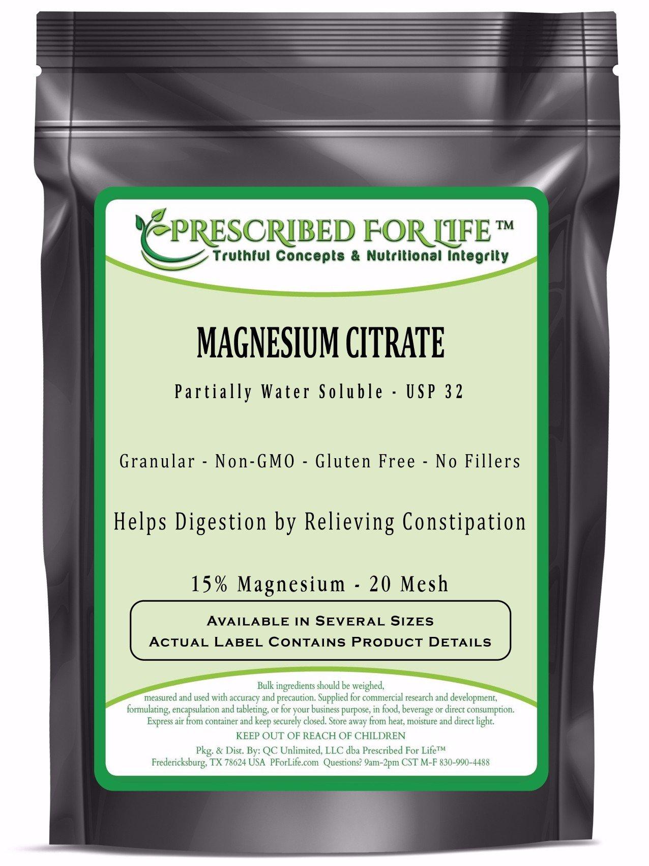 Magnesium Citrate Granular - Natural USP32 TriMagnesium Citrate 20 Mesh - 15% Mg, 55 lb
