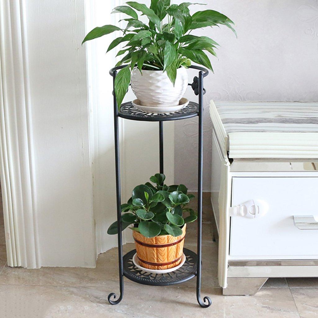 フラワースタンド 鍛鉄花の棚マルチレイヤー床立てポットラックバルコニー植物ラックリビングルームシンプルなマルチ肉 (色 : B) B07DB5W6CK B B