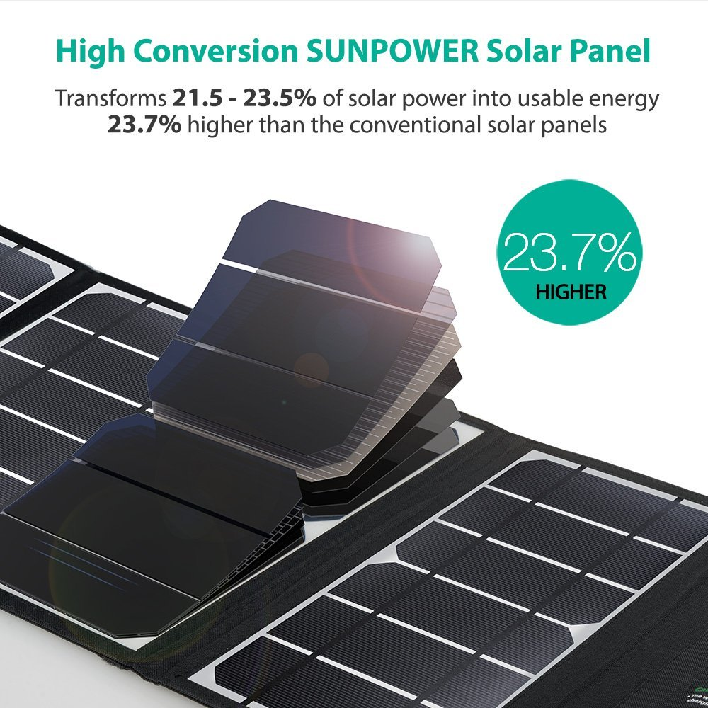 Solar Charger RAVPower 24W Solar Panel with Triple USB Ports Waterproof Foldable for Smartphones Tablets and Camping Travel (Certified Refurbished) by RAVPower (Image #2)
