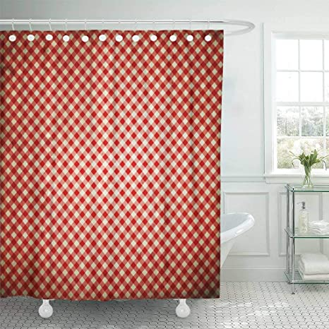 Emvency Waterproof Fabric Shower Curtain Hooks Christmas Red Checkered Vintage Pattern Check Plaid Retro 72quot