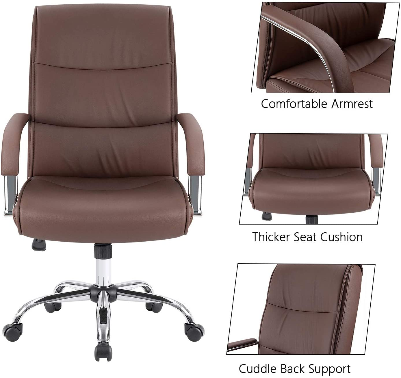Furmax High Back Office Executive Chair Conference Leather Desk with Padded Armrests,Adjustable Ergonomic Swivel Task Chair with Lumbar Support Grey
