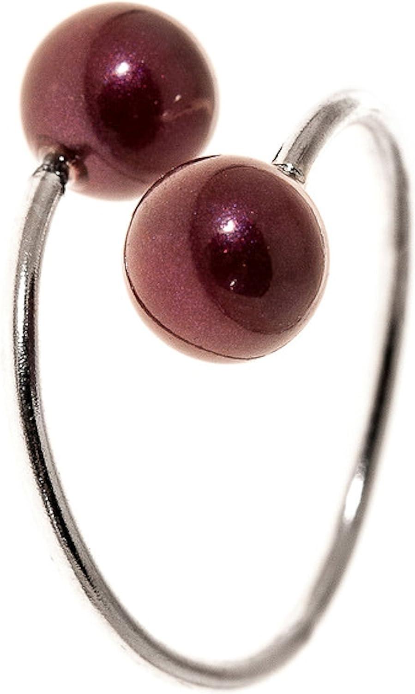Córdoba Jewels | Anillo en Plata de Ley 925. Diseño Tú Y Yo Perla Granate
