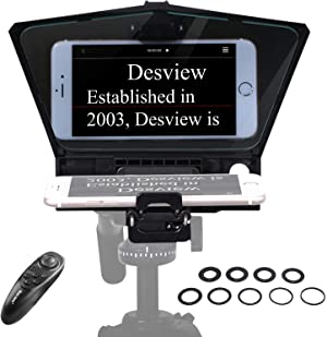 Desview-T2-Teleprompter for Smartphone Tablet DSLR Camera Portable Teleprompter Kit with Remote Control & Lens Adapter Rings
