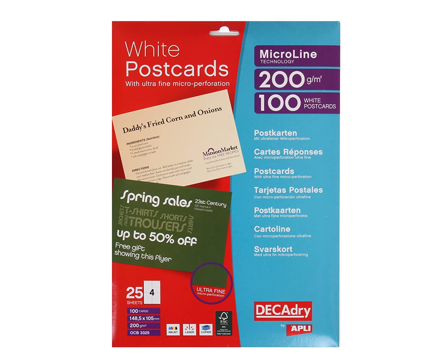 Decadry white postcards 200gsm microperforated 4 per a4 sheet 1485 decadry white postcards 200gsm microperforated 4 per a4 sheet 1485x105mm ref ocb3325 pack of 100 cards amazon office products reheart Gallery