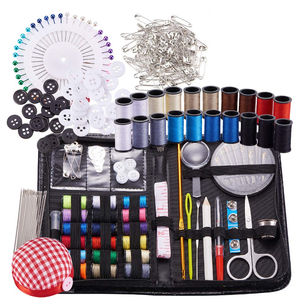 BENECREA Sewing & Knitting Tools Kits, 272pcs Sewing Supplies with Buttons & Pins & Scissors & Pencil & Sewing Threads & Knitting Neddles & Crochet Hooks & Cloth Needle Cushion BENECREAT TOOL-BC0001-01
