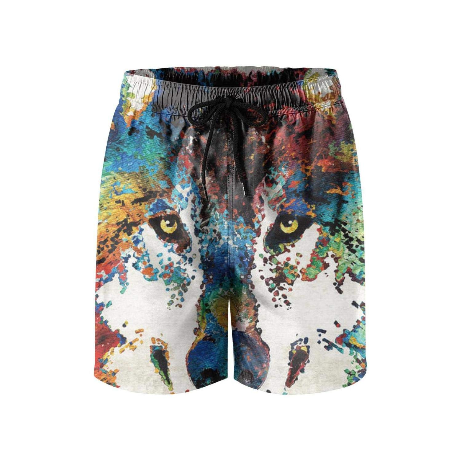 Stalking Wolf in The Dark Man Swim Trunks Outdoor Water Sports Light and Comfortable Board Shorts