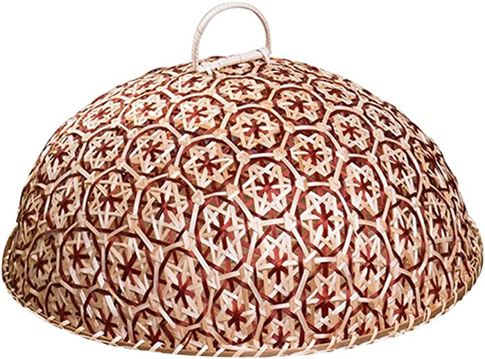 NewFerU Bamboo Woven Food Dome Lid Cover, Keep Out Bugs Flies for 13