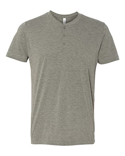 5fa49ad2ff28 Bella + Canvas 3125 Men's Triblend Short-Sleeve Henley Grey Triblend Small