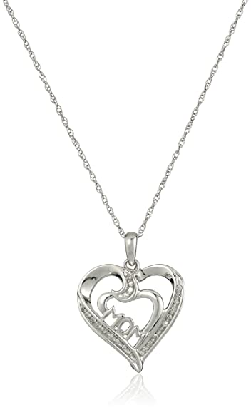 Amazon 10k white gold diamond accent mom heart pendant 10k white gold diamond accent quotmomquot heart pendant necklace mozeypictures Image collections